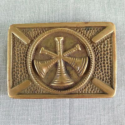 Vintage Assistant Fire Chief Brass Belt Buckle Flat Latch Type 3 Crossed Bugles