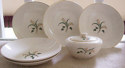6 Pieces Edwin Knowles FORSYTHIA Vintage Dinnerware Bowls and Sugar Bowl