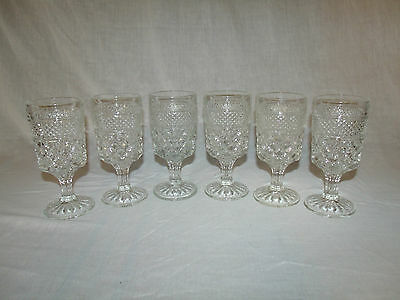 """6 LARGE CLEAR DIAMOND POINT VINTAGE ANCHOR HOCKING WEXFORD GLASS GOBLETS  6 5/8"""""""