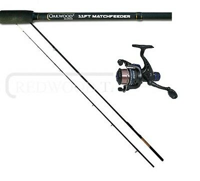 Oakwood Match/Carp Feeder/Quiver Fishing Rod 11ft +Tips & Shiver Reel With Line