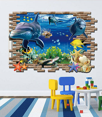 Home Decor Art Vinyl Underwater World Mural Decals Removable Wall Stickers