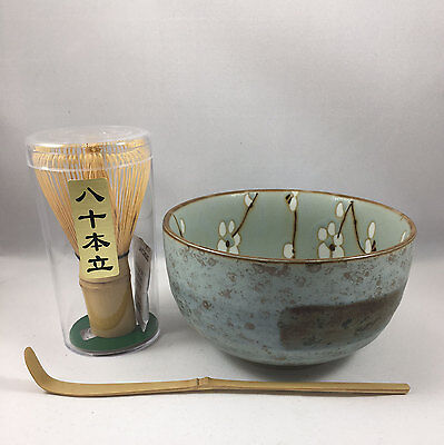 Japanese Ume Flower Matcha Cup Bowl w/ Bamboo Scoop 80 & Whisk Tea Ceremony Set