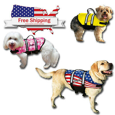 Pawz Pet Dog Life Jacket Dogs Pet Preserver Reflective Vest Flag Pink Yellow S-X