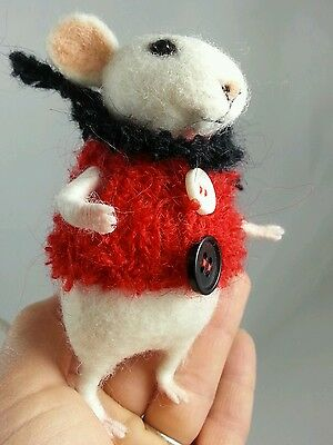 """Needle Felted 4.5"""" White Mouse in Red Vest by Tatiana Trot"""