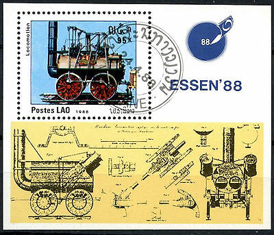 Laos 1988 SG#MS1077 Early Railway Locomotive Cto Used M/S #A84824