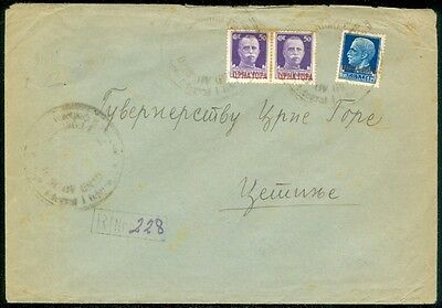 MONTENEGRO : Italian Occupation Registered 1942 cover to Cetinje.