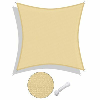 12' Square Sun Shade Sail UV Top Cover Outdoor Canopy Desert Sand w/Free Ropes