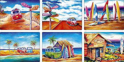 Summer Life SET of 6 Designer PLACEMATS Kombi Beach Surf Outback Bar Combi Love