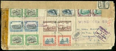 SW AFRICA : 1944 Reg Cen cover w/great markings incl US Officially Sealed stamps