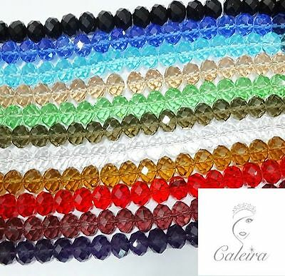 FACETED GLASS RONDELLE ABACUS CRYSTAL BEADS 4mm 6mm 8mm 10mm 12mm 14mm 16mm
