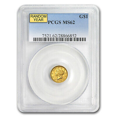 $1 Liberty Head Gold Coin Type 1 Random Year MS-62 NGC or PCGS - SKU#22173