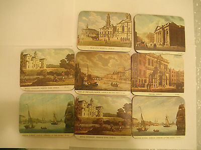 8 Vintage James Malton Coasters of Dublin Ireland Red Coats Provost Marine Schoo
