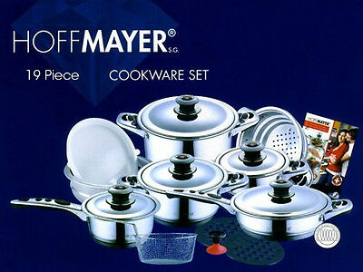 HOFFMAYER 19 Pc 7-Ply Surgical Stainless Steel Cookware Set (Stockpot, Saucepan)