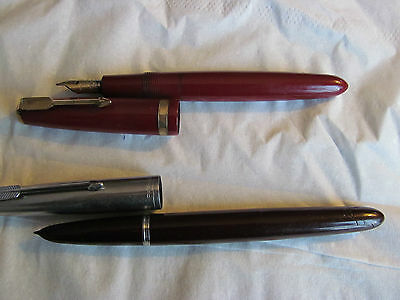 VINTAGE PARKER 51 + 14ct GOLD PARKER FOUNTAIN PENS SPARE OR REPAIR