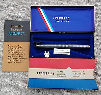 1969 Parker 75 Sterling Silver Fountain Pen with origianl box and literature