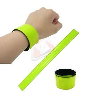 New 2pc Yellow Hi Vis Safety Reflective Bracelets Bike Jogging Walking Riding