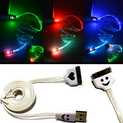 LED Light 30 PIN USB Charger Data Sync Cable for iPhone 4/4S Ipod iPad2/3 White