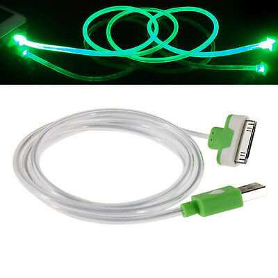 LED Light 30 PIN USB Charger Data Sync Cable for iPhone 4/4S Ipod iPad2/3 Green