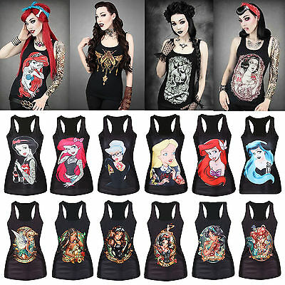 Sexy Women's Princess Tattoo T-Shirt Vest Tank Top Blouse Gothic Punk Clubwear