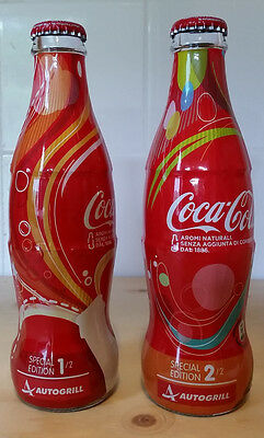 """SET OF 2 FULL BOTTLES COKE COCA COLA """" AUTOGRILL """" FROM ITALY  VERY RARE PERFECT"""
