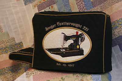 Singer Featherweight 221or 222 Sewing Machine cover set with CUSTOM embroidery