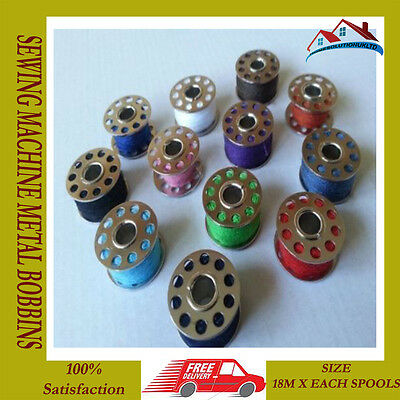 12Pc Standerd Sewing Machine Metal Bobbins/spools Assorted Colours Threads Home