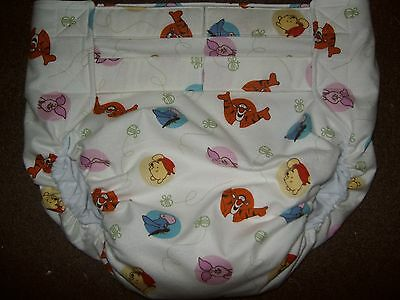 Dependeco All In One flannel adult baby diaper S/M/L/XL (pooh dots)