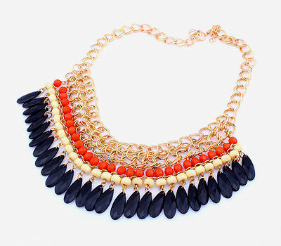 Fashion Western Style Multicolour Resin Beads Tassels Chunky Choker Necklace