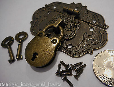 Small Chest Hasp With Lock and Keys - Reproduction Jewelry Box Hasp ~ Latch ><>