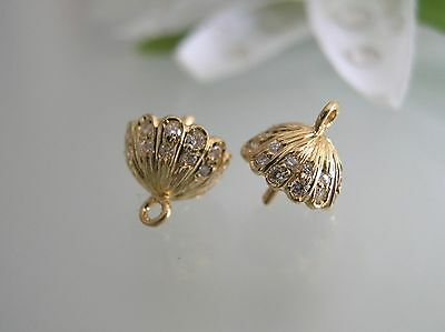 Pair of solid 14k gold w/ diamonds earrings cap setting for pearls stones