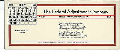 J-212 -  Federal Adjustment Co, Pittsburgh, PA Advertising Ink Blotter 1920s-50s