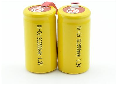 12 x SubC Sub C 1.2V 2500mAh NiCd Rechargeable Battery with Tab yellow