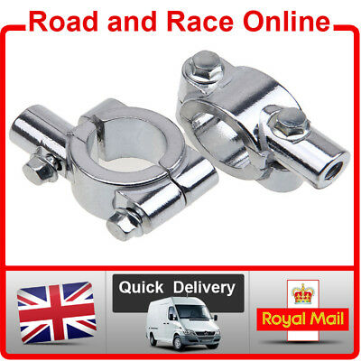 Universal Chrome Motorcycle Handlebar Mirror Mount Clamps For 10mm Thread Mirror