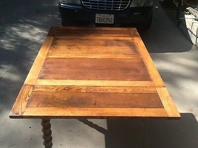 Antique pullout extension leafs oak table barley twist legs English 1900