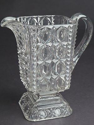 """Antique VTG EAPG Pitcher OLD 5.75"""" tall Unusual Rare Square Velncia Waffle"""