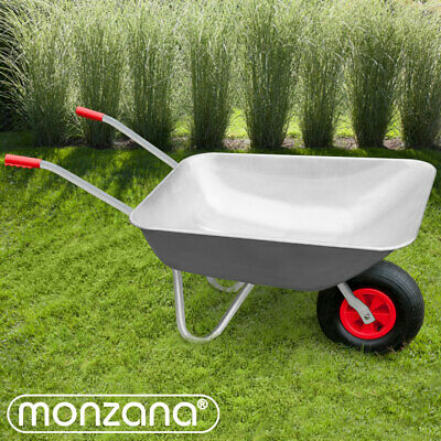 Wheelbarrow 80L Metal Barrow Garden Builders Pneumatic Tyre Heavy Duty Steel