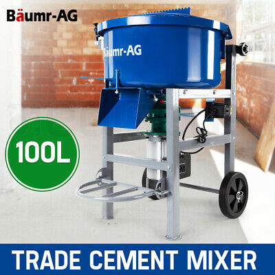 Baumr-AG 100L Concrete Mixer Mortar Electric Cement 1500W  Heavy Duty Screed Pan