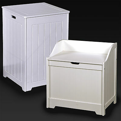 Laundry Basket Bin White Wooden Hamper Basket Bathroom Bedroom Hinged Lid