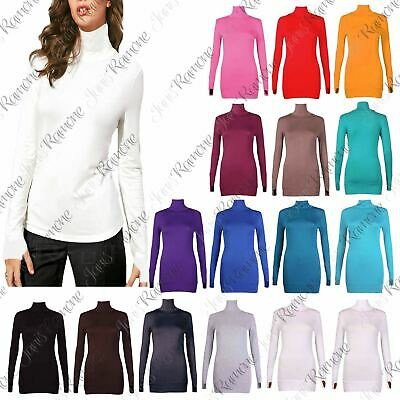 New Womens Long Sleeve Plain Thumb Hole Polo Neck Jumper Stretch Sweater Top