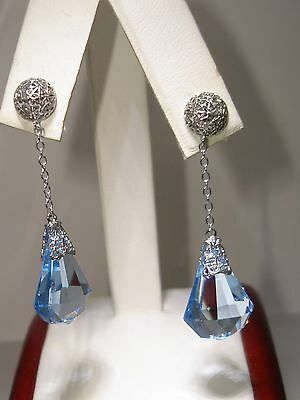 Beautiful Vintage 14K Solid White Gold Filigree Faceted Blue Briolette Earrings