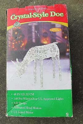 """48"""" Lighted Crystal Animated Doe Sculpture Outdoor Christmas Yard Decor Prop"""