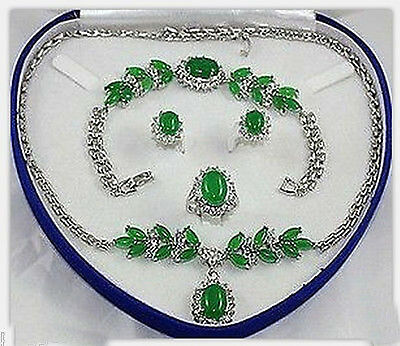 Charming Set Jewelry Green Jade Necklace Bracelet Earring Ring (No box)