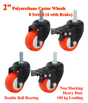 "2"" PU Bolt Castor Wheels,4 Swivel Casters (2 with brake),Trolley Bench Furniture"