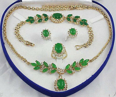 Exquisite green jade Necklace Bracelet Ring Earring Set(No box)