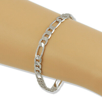 Men / Women Silver Plated On Solid Copper Chain Curb Bracelet Jewelry