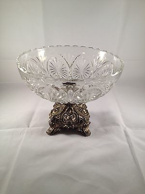 VINTAGE GLASS FRUIT CANDY DISH BOWL W/ BRASS BRONZE PEDESTAL HEAVY COMPOTE 6""