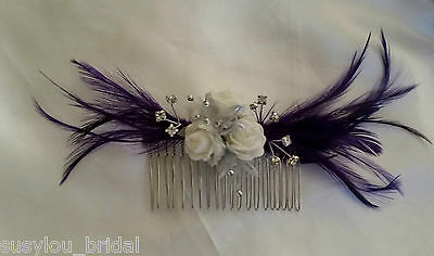 Cadbury Purple Feathers Rose Flower Hair Comb Bride Bridesmaids