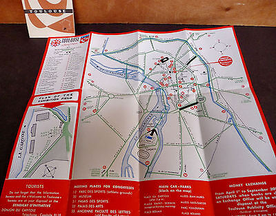 1958 Toulouse English Brochures Routes Holiday Resort Son et Lumiere Tourist Map