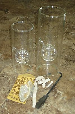 "Wolfard Oil Lamps ~ 12"" and 9"" Pair"