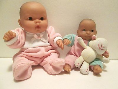 "Lot of 2 JC Berenguer Baby Dolls one 10""Chubby one 7"" Soft Babies So Cute!!!"